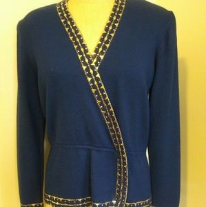 St John royal blue and gold studded sweater size 8